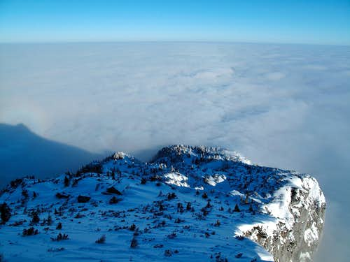 The Untersberg\'s north side vanishing into the clouds