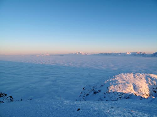 The Dachstein and the Tennengebirge in sunset color