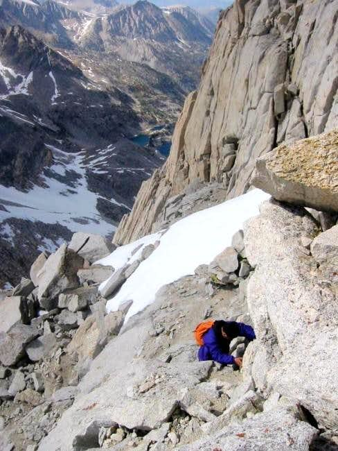 Climbing the class 3 section...