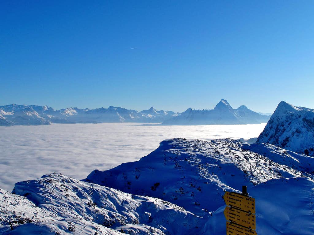 The Salzburg Kalkalpen, the Watzmann and the fog covering the Berchtesgaden valley