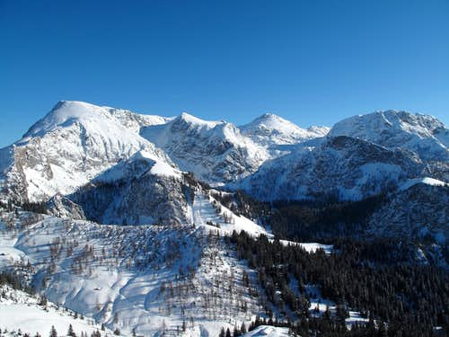 Schneibstein (2276m) and Windschartenkopf (2211m) seen from the Jenner