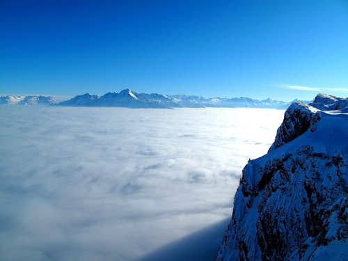 Sea of cloud above the broad Salzach valley and the Berchtesgadener Land