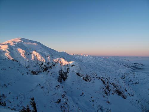 The first rays of sun hit the Salzburger Hochthron