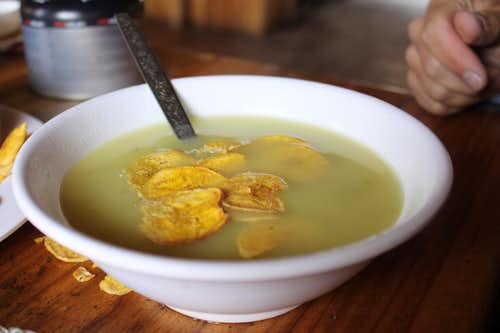 Soup with banana chips