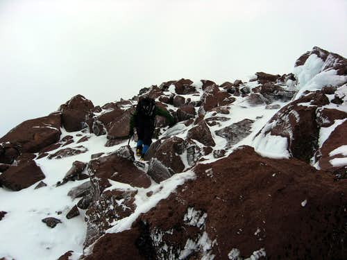 Tom climbing in mixed conditions on Sargents Ridge