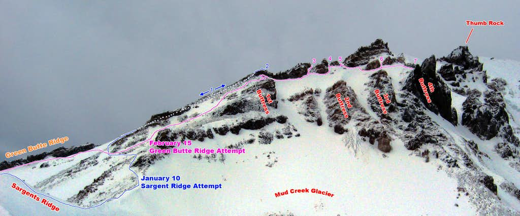 Attempted Lines on Sargents/Green Butte Ridge