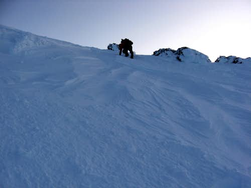 Guy beginning the Traverse to Sargents Ridge