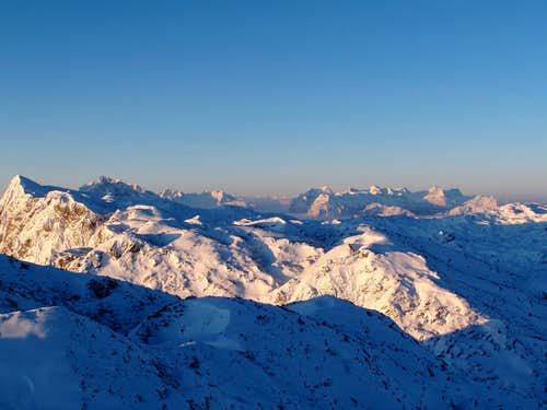 Early morning arctic view over the Untersberg plateau and beyond
