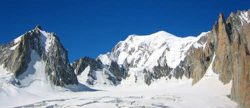 Walking on the glacier to the Grand Capucin