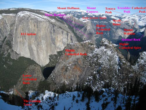 Yosemite Valley from Dewey Pt., labeled
