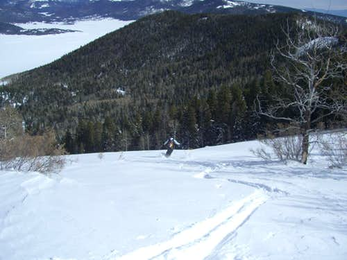 Scott\'s first turns below Rabbit Mtn