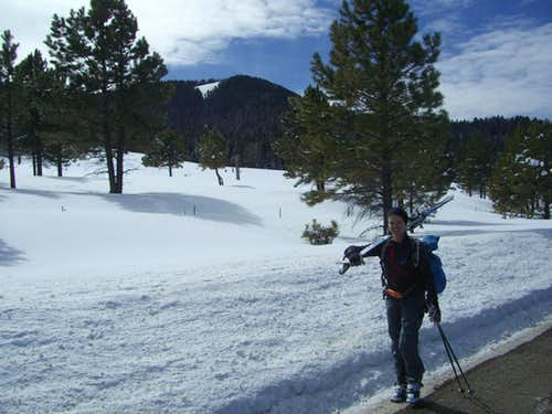 Amy hiking after a nice ski