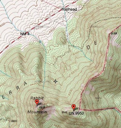 Topo of Rabbit Mtn area