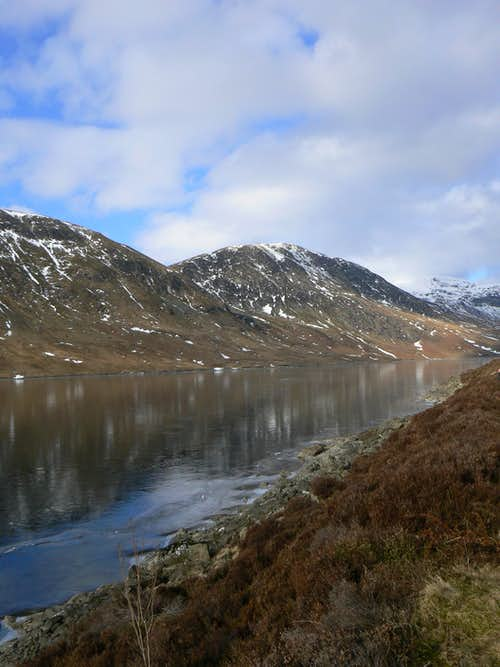Meall na Seide over a frozen Loch Turret