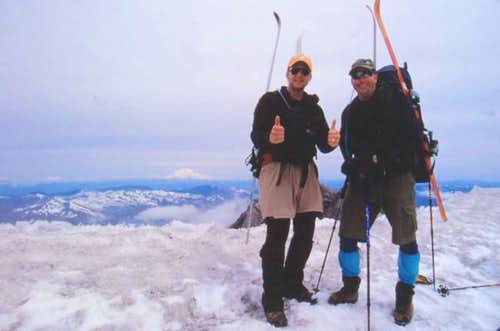 Thumbs up at the crater rim,...