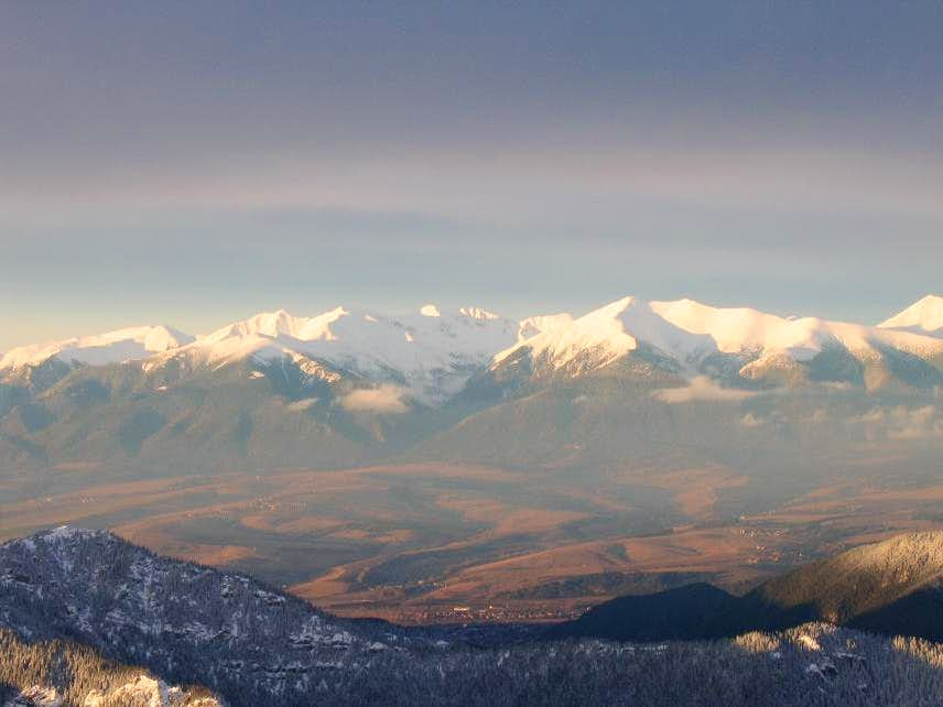 View of the Western Tatras from the South at sunset