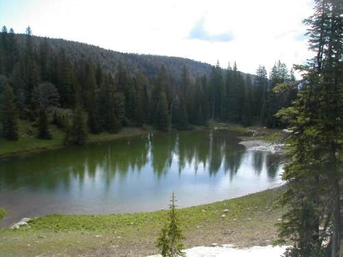 A lake at the base of...