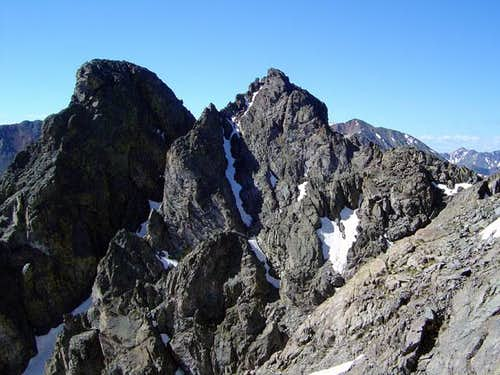 Shot of the twin summits of...