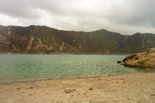 On the shores of Quilotoa crater lake