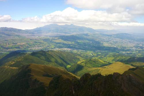 View of the Cordillera Occidental with Volcán Corazon, from Volcán Pasochoa