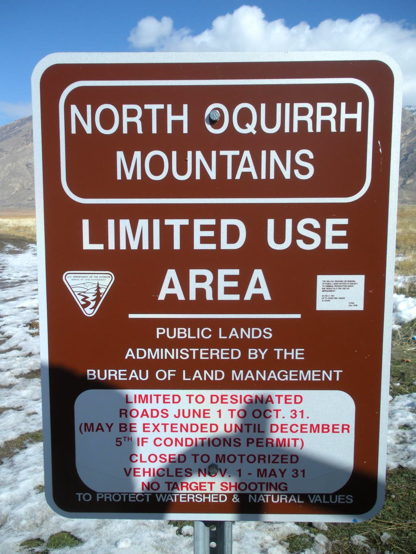 North Oquirrh Mountains Sign