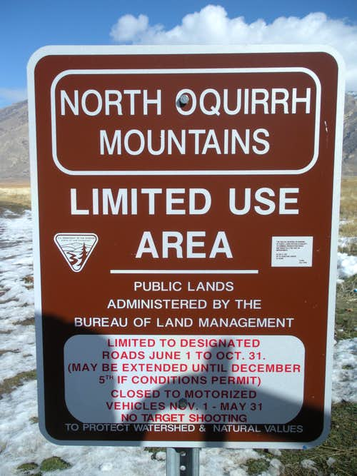 North Oquirrh Mountains Sign
