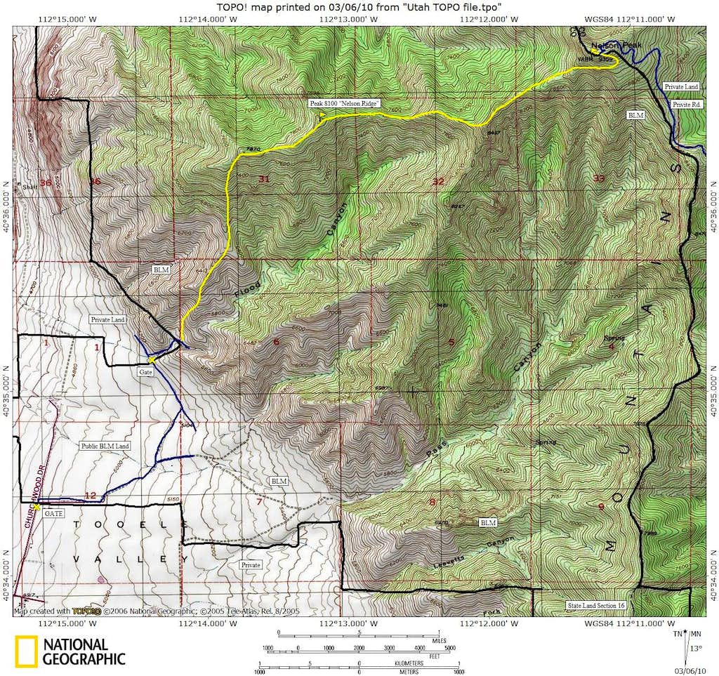 Nelson Peak West Ridge Route Map