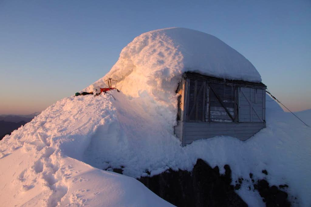 Fire Lookout On The Summit Of Three Fingers  Winter