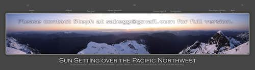 Panorama of sunset over Pacific Northwest
