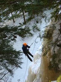 Rappelling down the ice-fall
