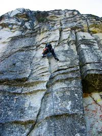 Climbing the first pitch of...