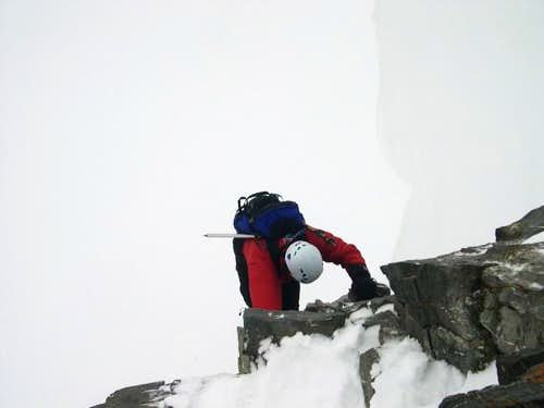 Me downclimbing the final...