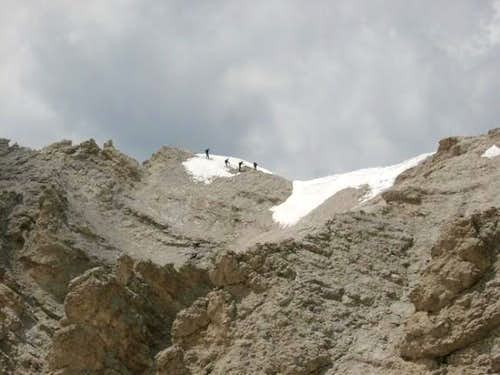 Alpinists on the Ridge of...
