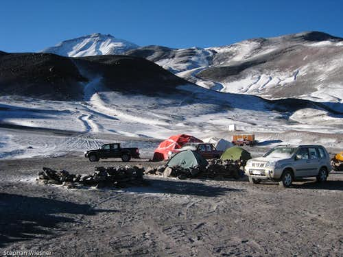 Atacama Basecamp with Ojos del Salado in the back
