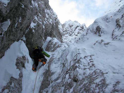 Climbing in Zeleniška grapa ravine