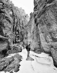 winter canyoneering in Idaho