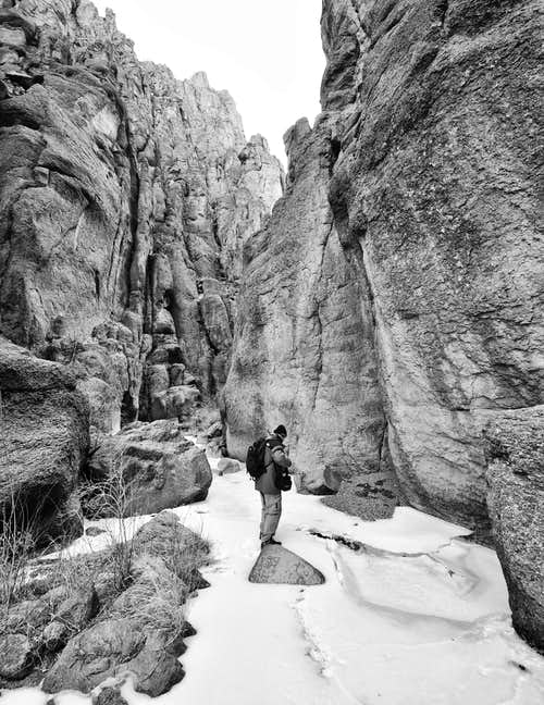 winter canyoneering in Idaho