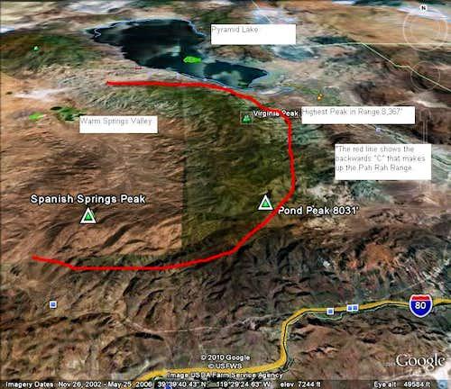 Google Earth™ image of the Pah Rah Range