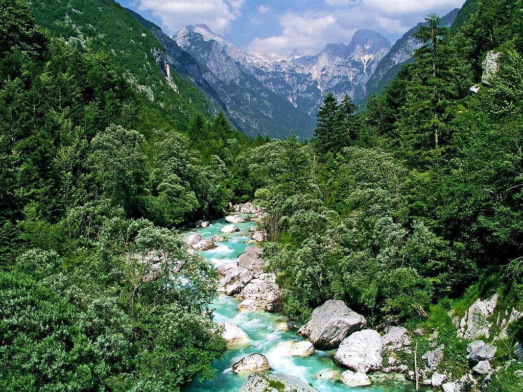 Soca river in its upper part,...