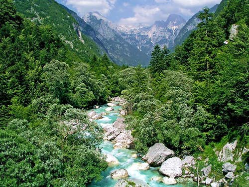 Soca river in its upper part,...