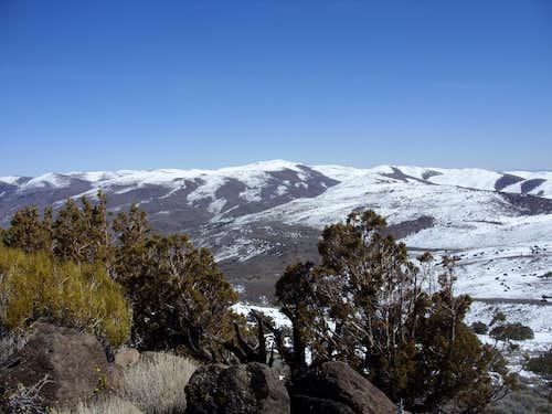 Pond Peak 8031' from Spanish Springs Peak 7401' in March 2010