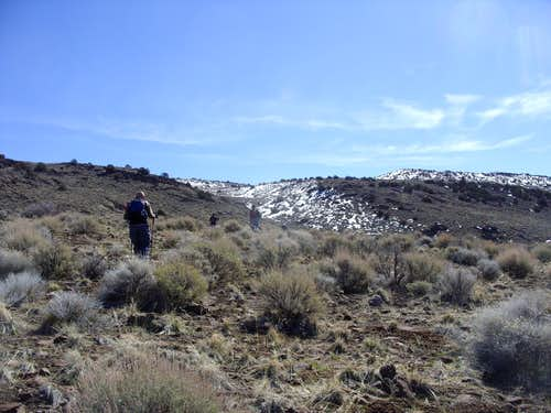 Hiking up the lower slopes of Spanish Springs Peak