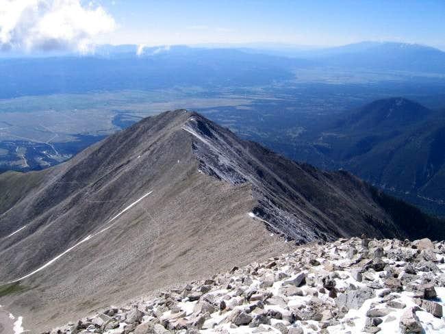 Looking down ridge to...