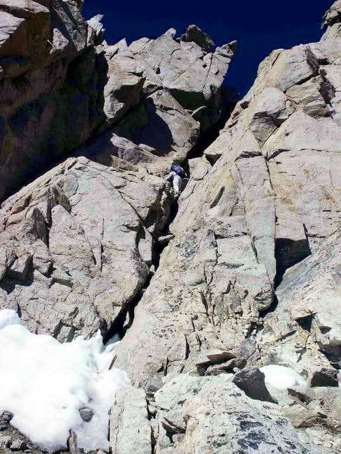 Martin Rolph down climbs the...