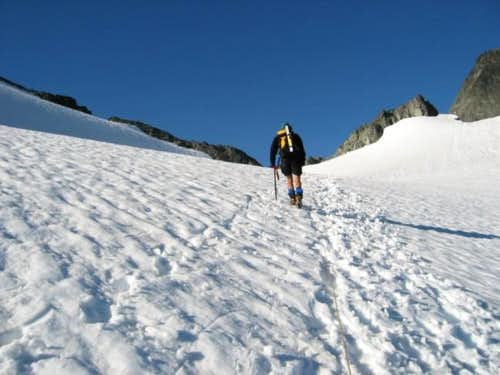Traversing the glacier to the...