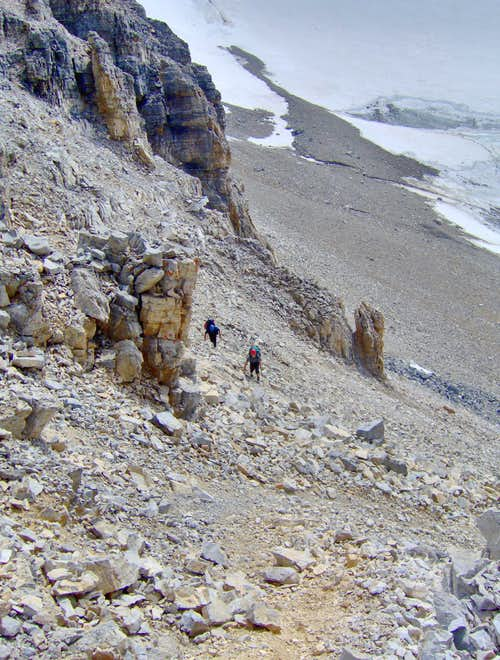 Climbing to the Strom/Assiniboine Col