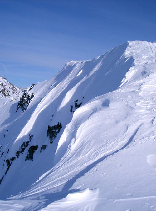 Flowing Shapes of Cornices on Ralston Peak's East Ridge