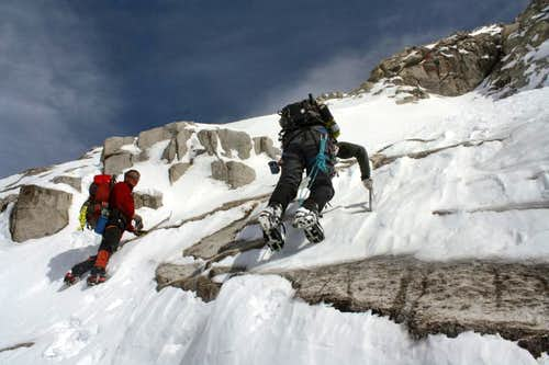 Icy slabs on Snowmass Mountain\'s West Face