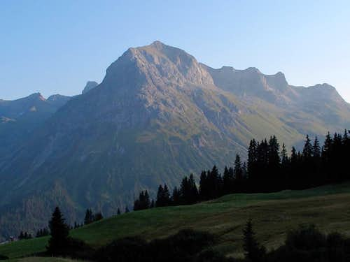 The Omesberg (2558 meters) above Lech am Arlberg in the evening light
