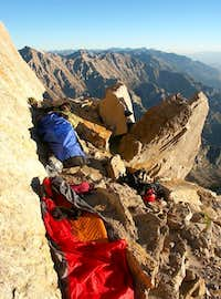 Our bivy spot at ~13,700',...
